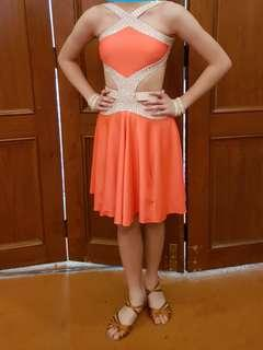 Bright Orange / Yellow Latin Dance Competition Dress Costume, Girl
