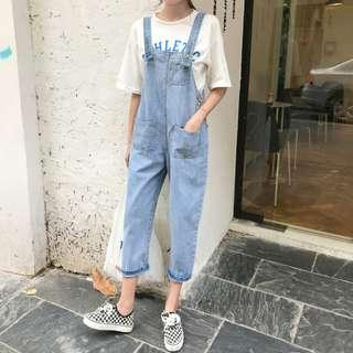 Straight Pocket Jeans Overall