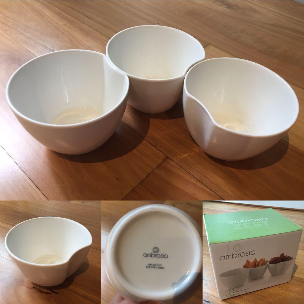 3 Ambrosia Fine Bone China Zest Link Bowls