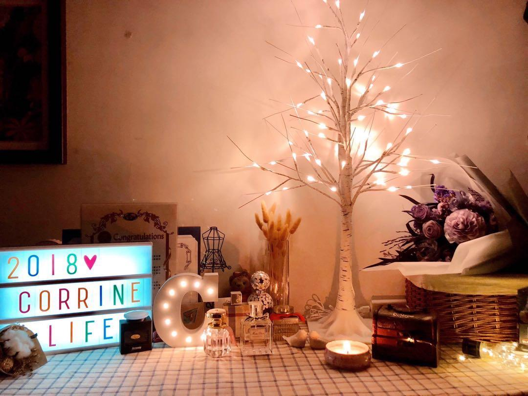 🎄 白色聖誕樹 歐美質感 白樹皮 輕量安全 迷你桌上型聖誕樹 療癒 小夜燈 幫助睡眠 暖黃光
