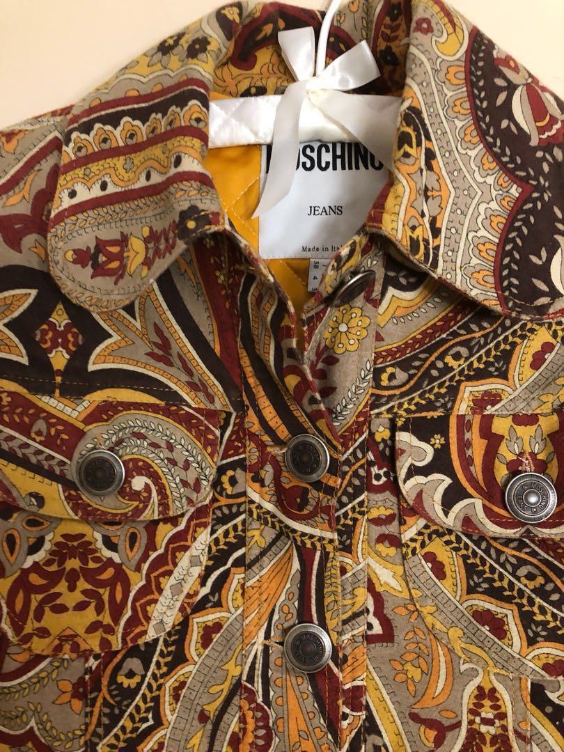 Authentic Moschino vintage crop paisley velvet jacket