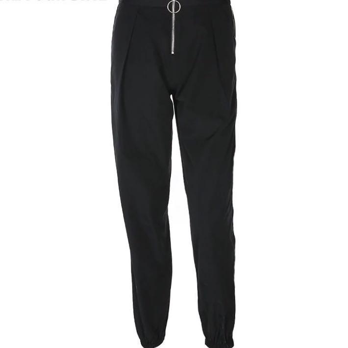 Casual Baggy Black Pants  Women's Sweatpants And Joggers Patchwork Striped Sweat Pants Print High Waist Trousers