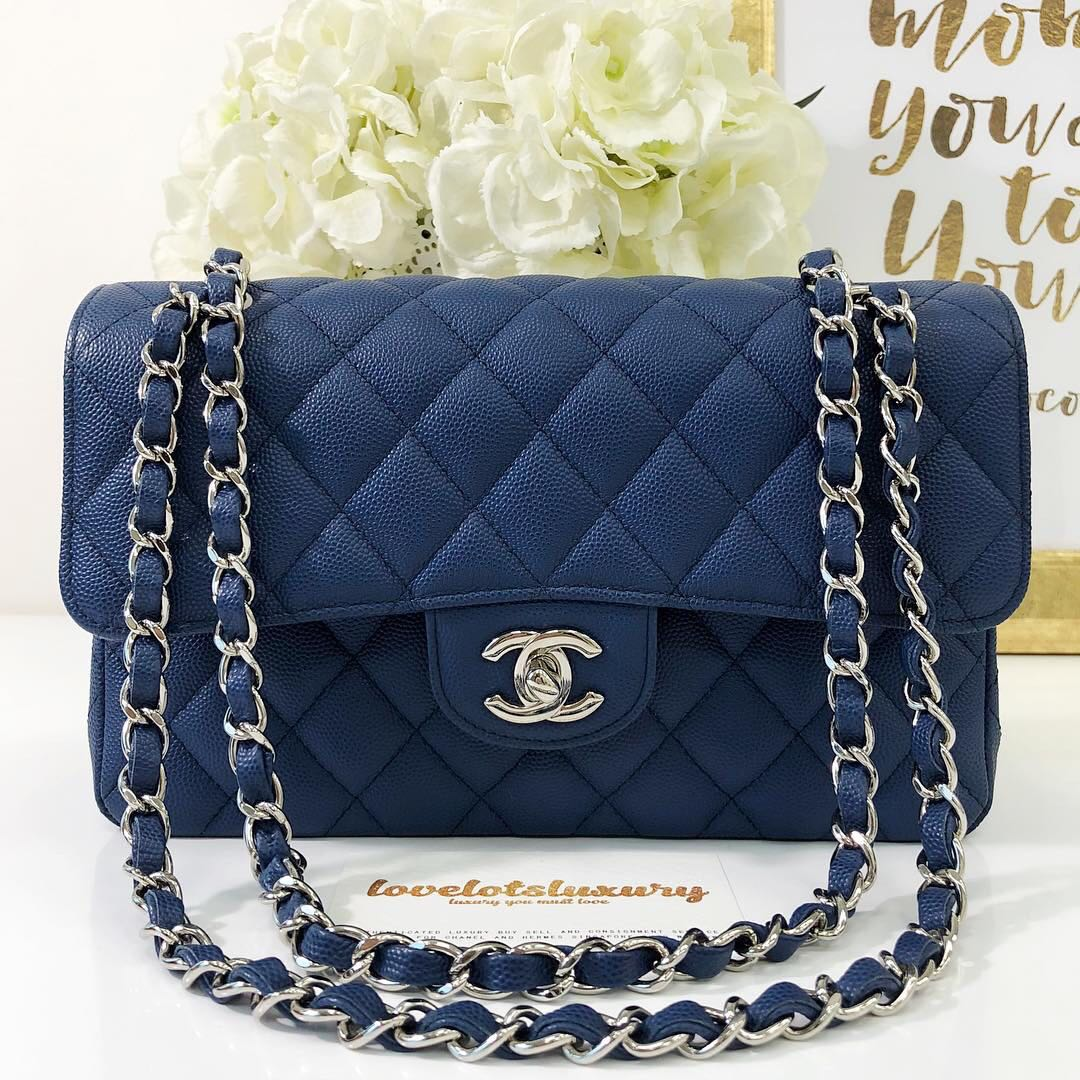 32ac0b274df6c7 Chanel 18C Classic Quilted Small Flap Blue Caviar SHW, Luxury, Bags ...