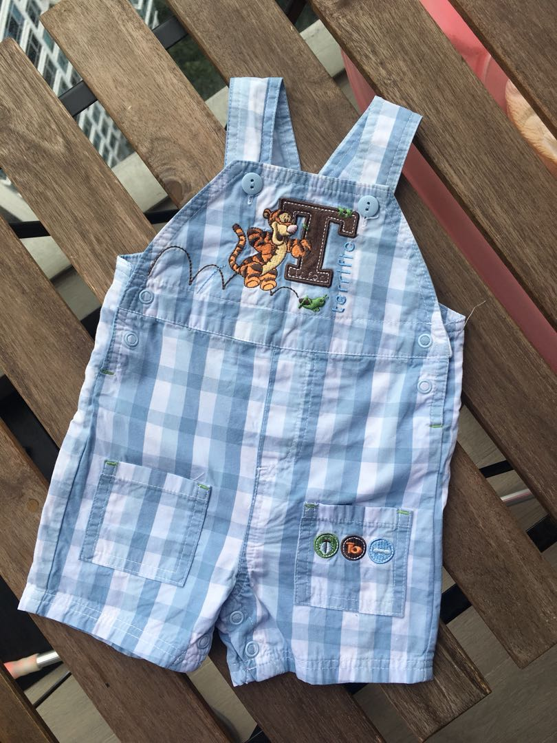 70cdb5fe DISNEY BABY 0-3M Tigger Winnie the Pooh light blue plaid overalls ...