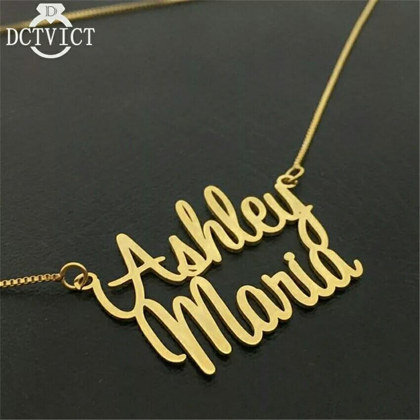1efe2c7d9bc1c Gold Double Name Necklace with Box Chain Custom 2 Nameplate Pendent ...