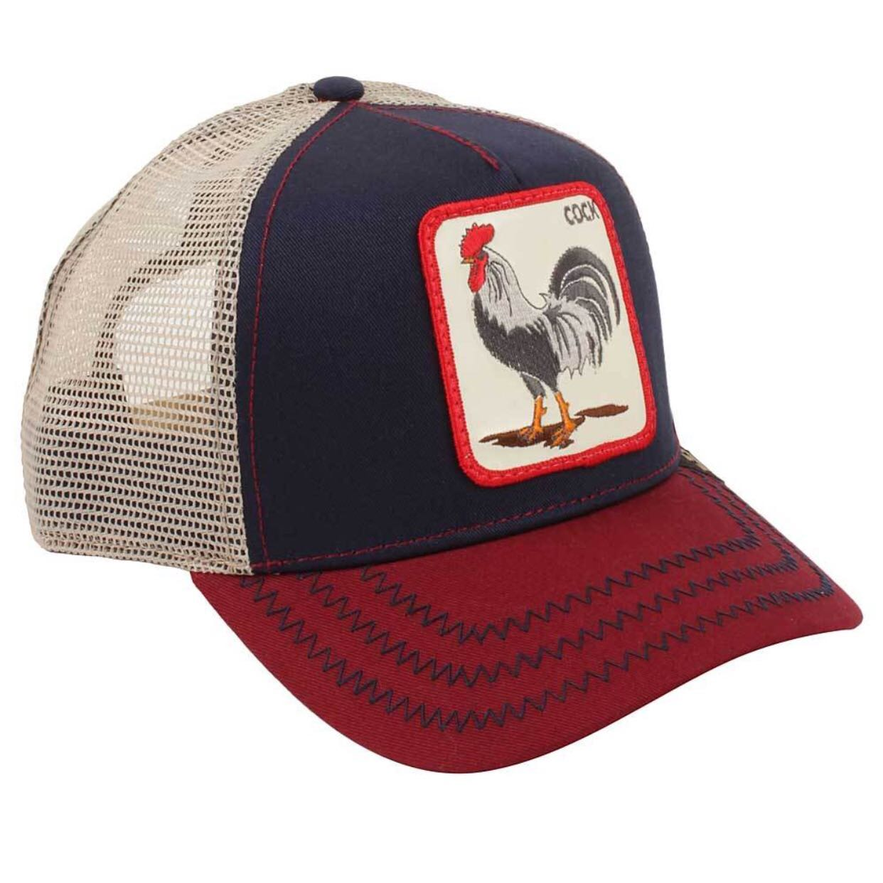 "d160c504323ef Goorin Bros Animal Farm ""Cock"" Navy Trucker Cap"