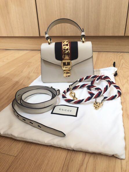 a79761e0a1c Gucci sylvie mini top handle white CAN NEGO