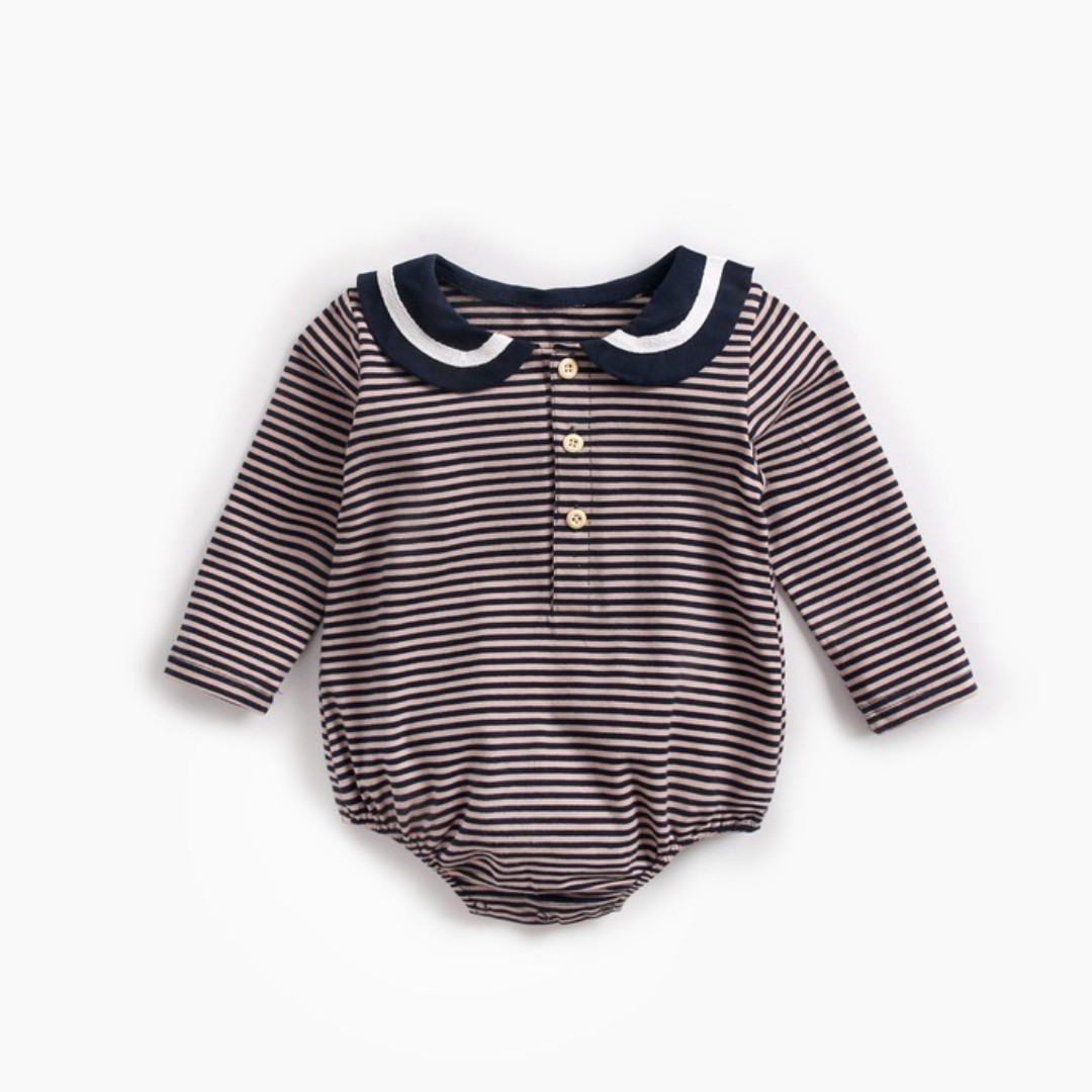 672393483 🌟INSTOCK🌟 Button Collar Brown Stripe Long Sleeves Overall Onesie ...