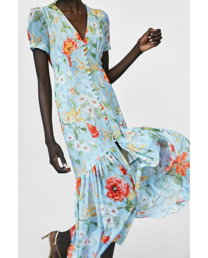 3b90de2f Zara Yellow Floral Midi Dress - raveitsafe