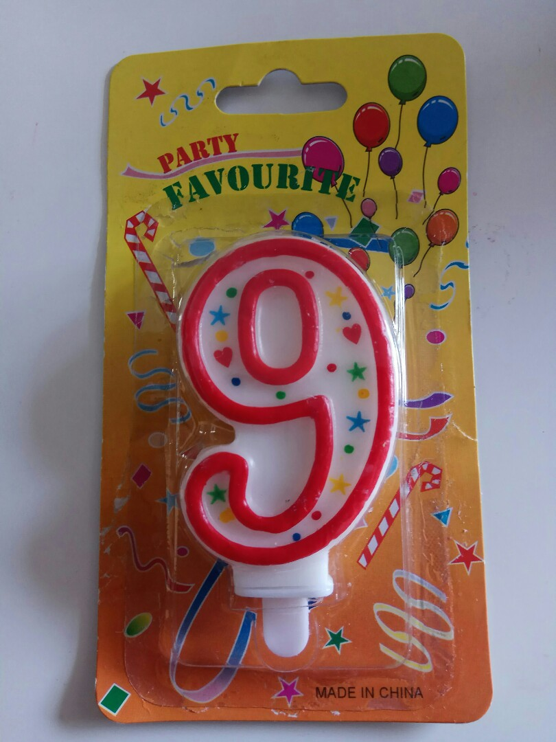 NEW Happy Birthday Cake Candle For 9 Years Old Boy Girl Kids Design