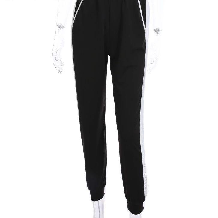 Patchwork Mesh Women Sweatpants Black White Baggy Casual Pants Hollow Out Sexy Trousers Streetwear Holes Side Pants