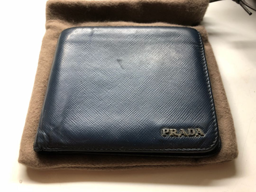 ec8fd027b491 Prada saffiano blue wallet, Men's Fashion, Bags & Wallets, Wallets ...