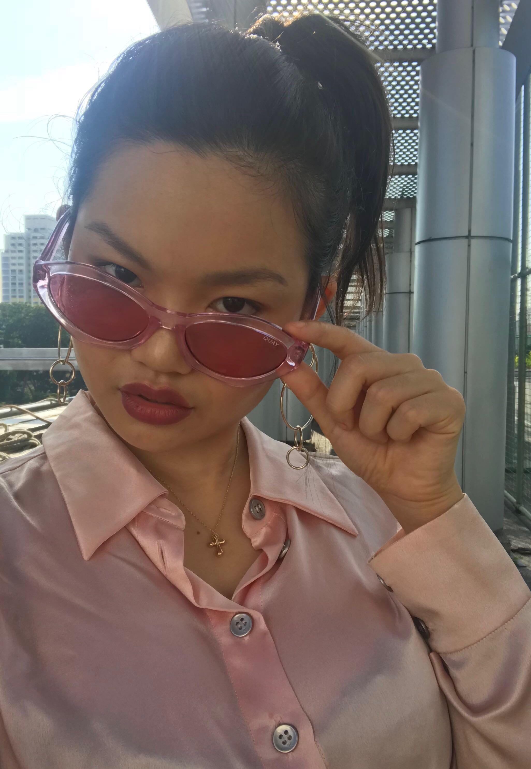 6419fec2c7 Quay x Kylie As If! Pink Cateye Sunnies