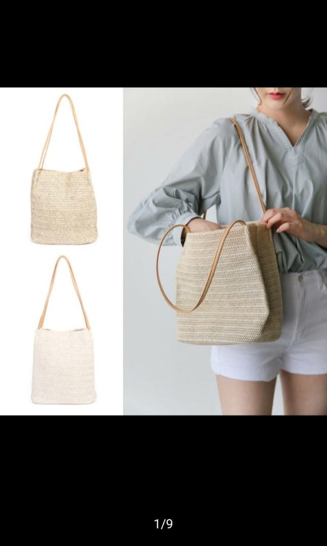 86c1c6c1 Straw woven beach tote summer shoulder bag, Women's Fashion, Bags ...