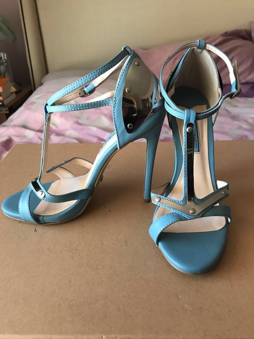 Tony Bianco Blue & Silver Stilettos