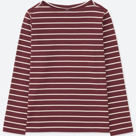 8c4dc8a0ddfc1 Uniqlo Striped Boat Neck Long Sleeve T-Shirt