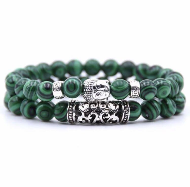 Unisex 2 piece Buddha beaded bracelet set