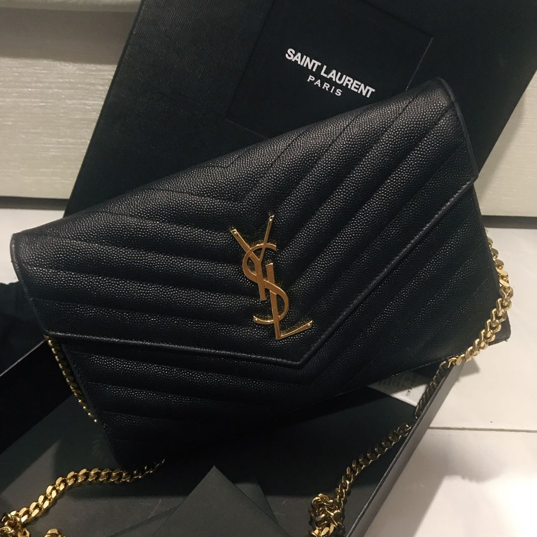 598dc28225c YSL Saint Laurent Wallet on Chain, Luxury, Bags   Wallets, Sling Bags on  Carousell