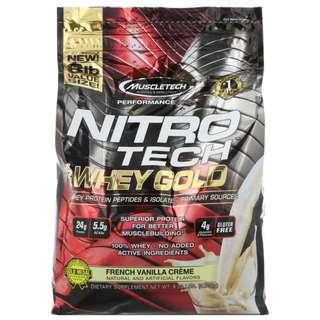 Free delivery! Muscletech, Nitro Tech, 100% Whey protein , French Vanilla Creme, 8 lbs (3.63 kg)