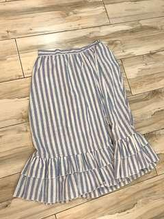 White and blue Stripes long skirt with slit