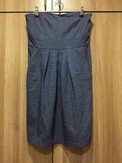 Forever 21 blue/gray dress with sweetheart neckline