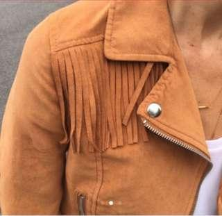 Bnew H&M Suede Frill Cropped Jacket