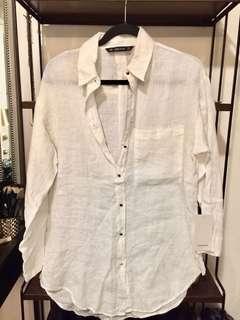 Zara linen shirt with gold buttons