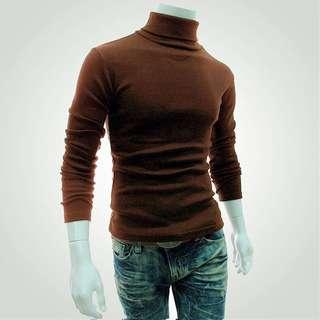 Brown Long Sleeve Turtle Neck Cotton Shirt