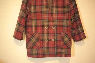 🚚 古著英格蘭紅色格紋毛呢雙排扣西裝外套