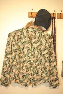 🚚 古著綠色麋花金釦子西裝版型襯衫