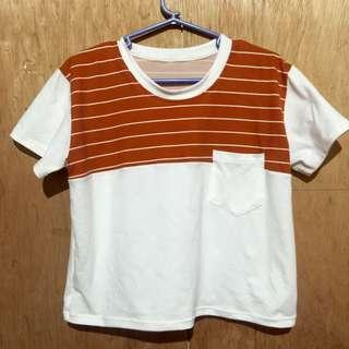 Semi Crop Top with Stripes