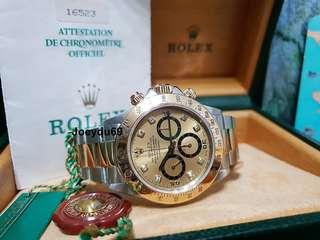 INVERTED 6 - Rolex DAYTONA (ZENITH) Cosmograph Halfgold 16523 Diamonds Dial FULL SET!