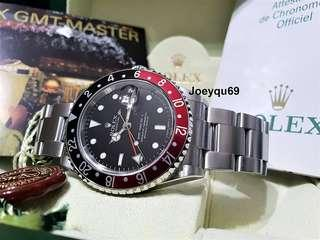 STICK ERROR Dial - ROLEX GMT MASTER 2 Red/Black (COKE) 16710 No pinhole FULL SET!