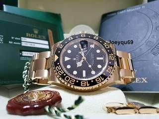 Latest ROLEX GMT MASTER II Solid Yellow Gold 116718LN Ceramic Warranty Card/Box !