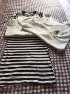 Stripes skirt + two sleevless cropped tops! Bundle ❤️