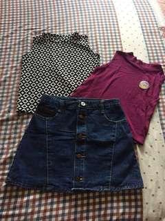 Maong skirt + sleevless tops bundle!