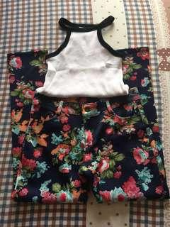 Halter white top and floral pants bundle