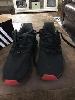Men's black EQT's size 9 original price $300 worn 2 times $120 a great comfortable shoe!