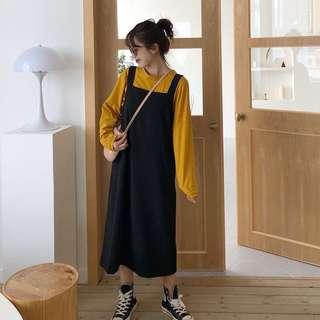 Black Oversized Dungaree Skirt Dress Overall