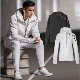adidas  Z.N.E三葉草外套男女生休閒服套装 貝克漢 彭于晏 愛迪達白色B48878