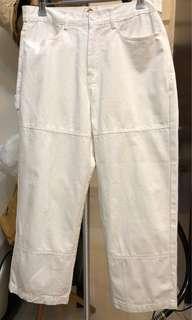 韓國品牌 9分 挺身 白色軍褲 Military Pants