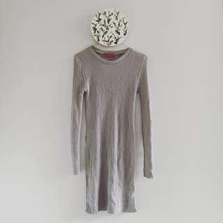 Grey Knit Ribbed Tunic   Brand: Boohoo