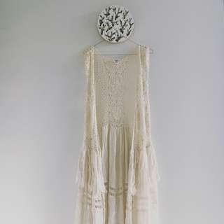 Off White Cream Crochet & Tassels Long Vest
