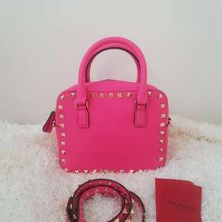 ON HAND: Authentic Valentino Pink Leather Mini Rockstud Top Handle Bag