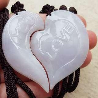 Certified Type A Jadeite Pendant Lavender Jade Pair Love You Heart 爱你的心