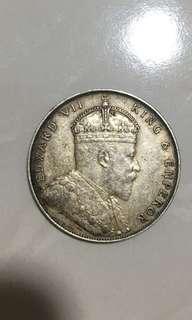 1907 $1 Straits Settlements coins