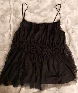 H&M Strappy Tulle Black Camisole