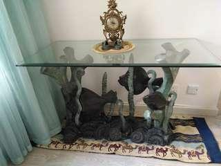 Glass table 枱 (L46inch x W23inch)