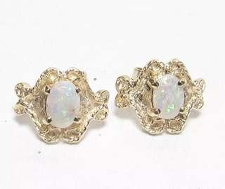 Pretty Dainty 14K Yellow Gold Colorful Opal Stud Earrings 0.5Cts
