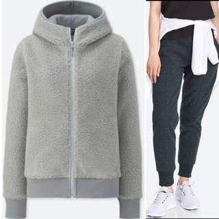 Uniqlo Women Blocktech Jacket and Fleece Pants